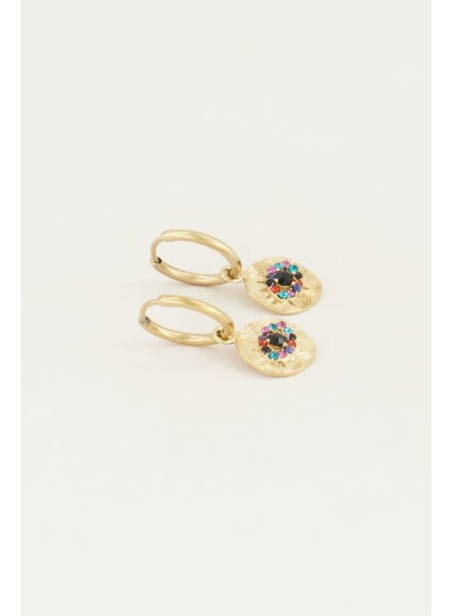 Earring - Eyes / Multicolor - Gold