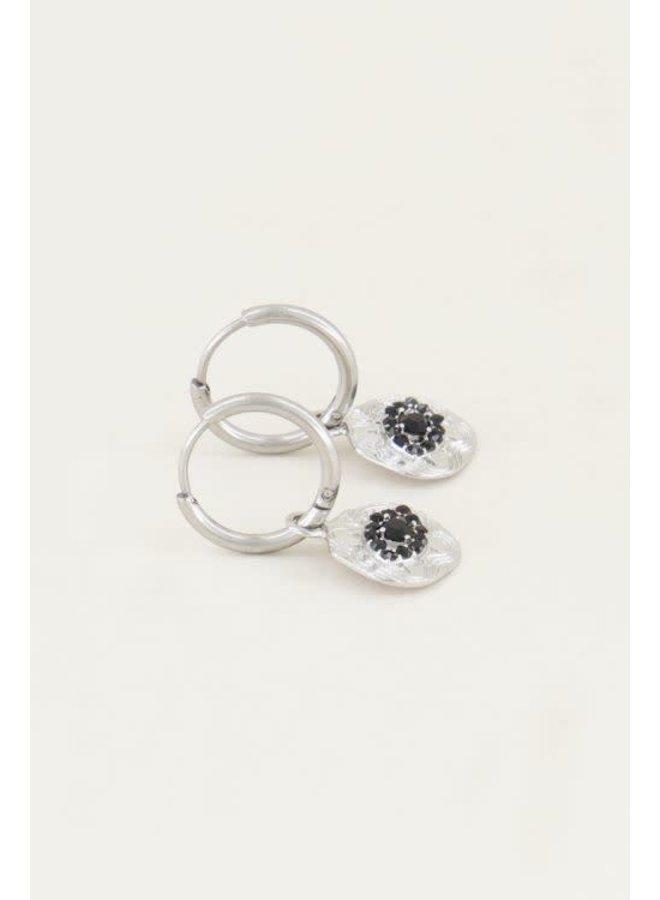 Earring - Eyes / Black - Silver