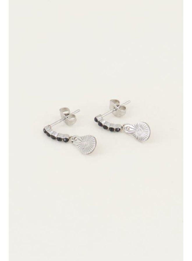 Earring - Charm / Black - Silver