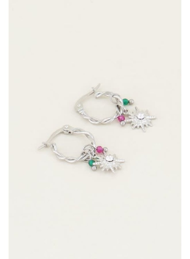 Earring - Sparkle - Star / Multicolor - Silver