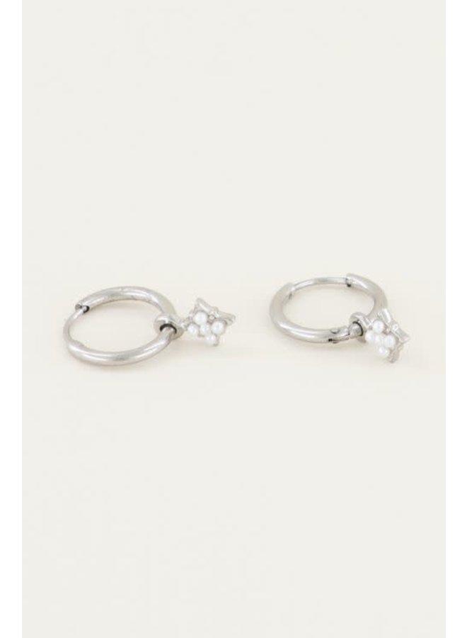 Earring - Star - Pearl / Silver
