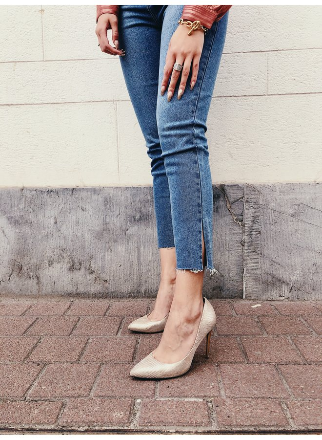 Jeans - Mom / Split-Blue