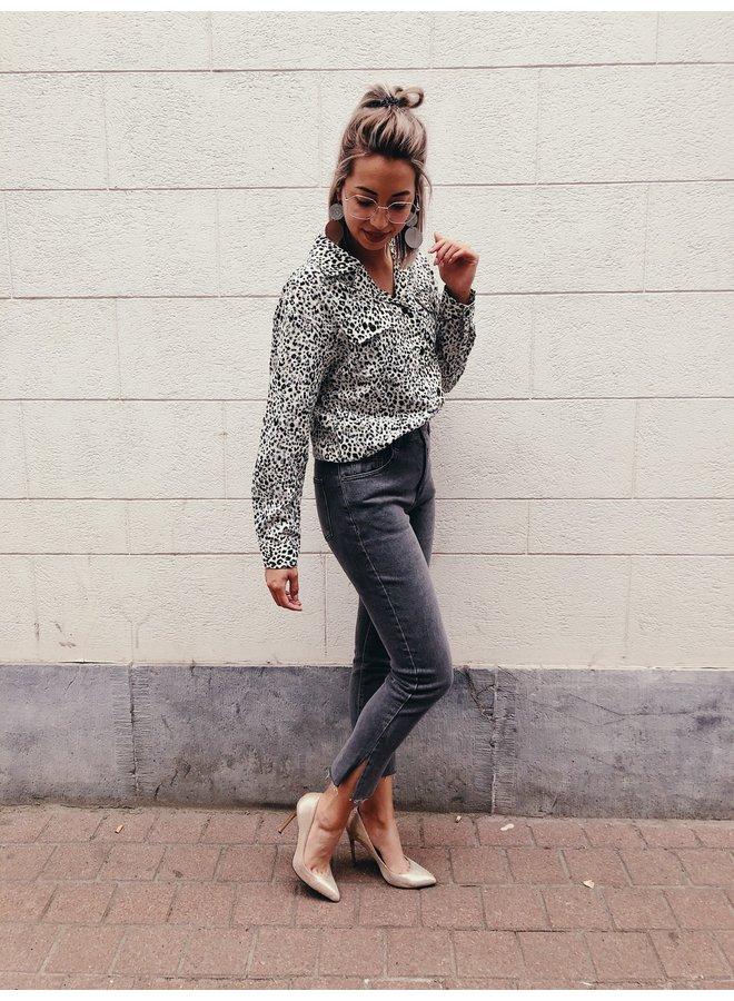 Jeans - Mom / Split-grey