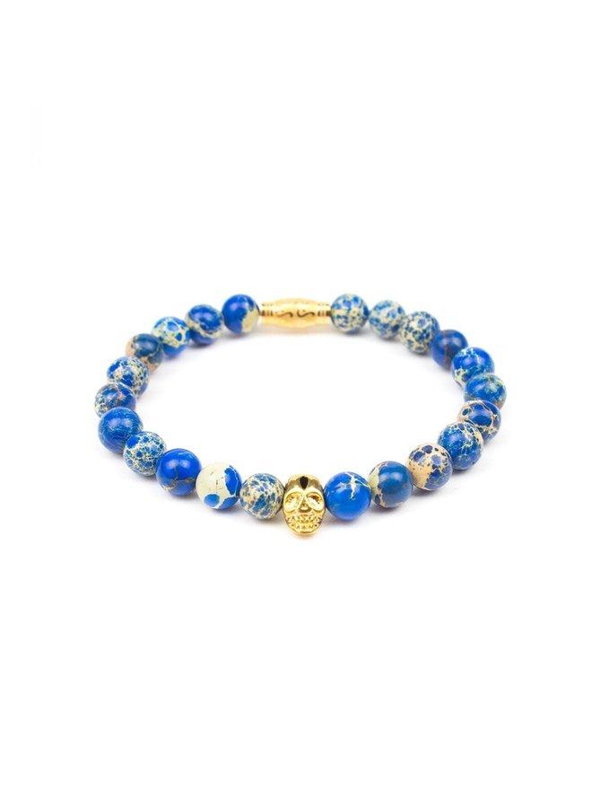 Bracelet - Ocean Blue - Gold Skull