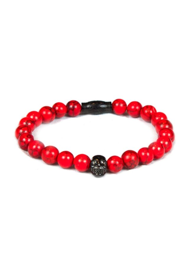 Bracelet - Red Stone - Black Skull