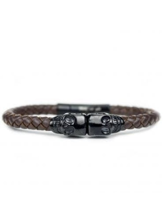 Bracelet - Brown Leather - Black Skull