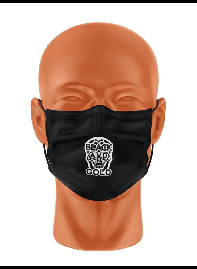 Mondmasker - Skull - Black And Gold / Black