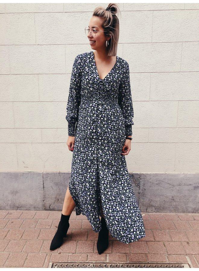 Dress - Long - Harper Flower Button / Lila
