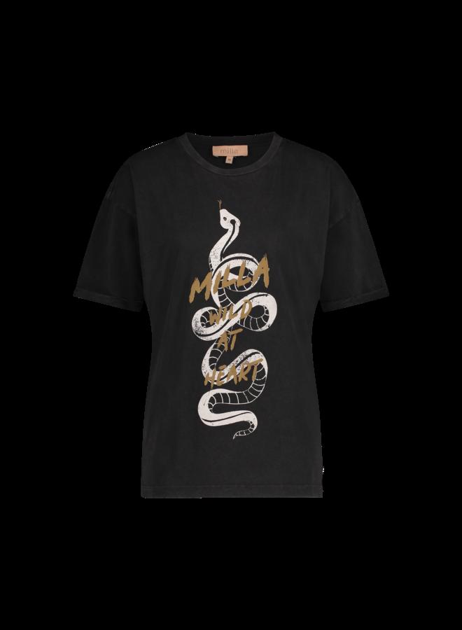 T-shirt - Short Sleeve - Tessie / Snake Print Antracite