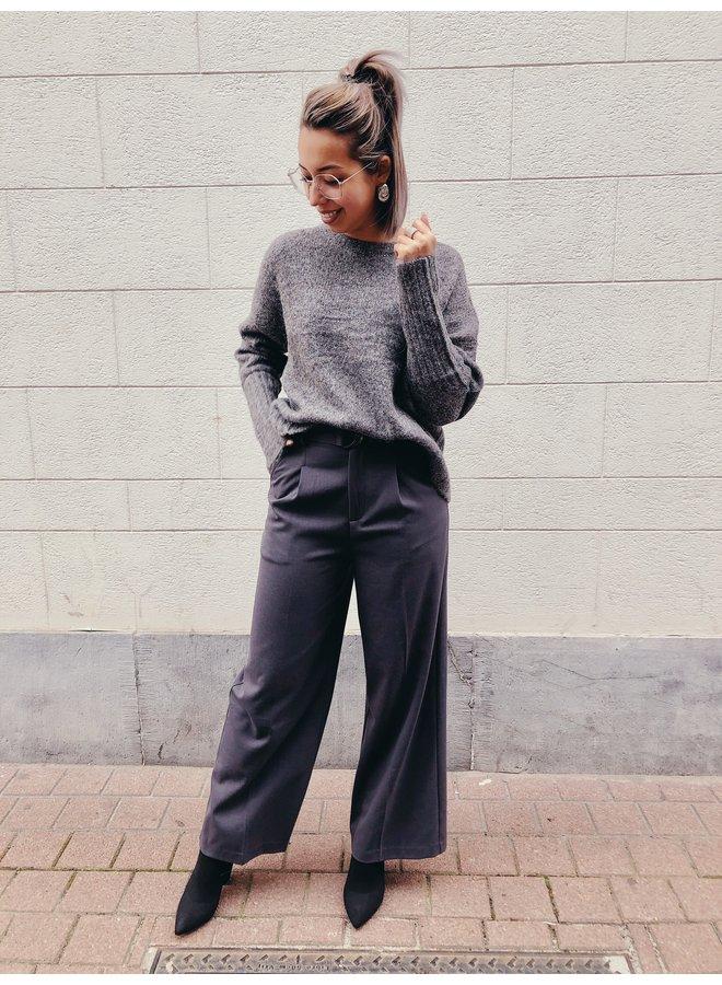 Pants - Wide - Straight - Belt / Grey