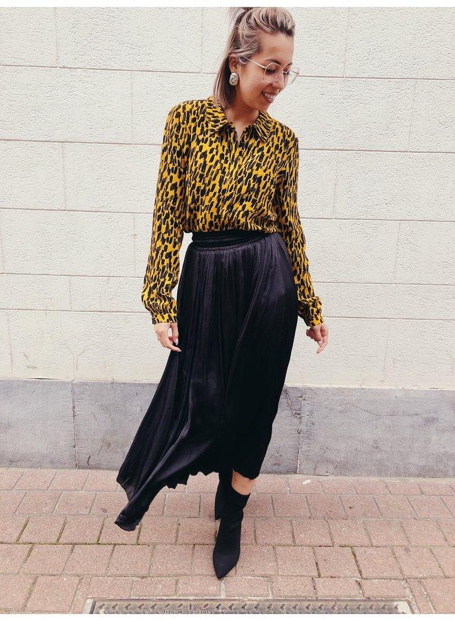 Skirt,- Midi - Satin Look / Black