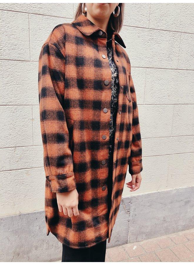 Coat - Pattern - / Camel - Black
