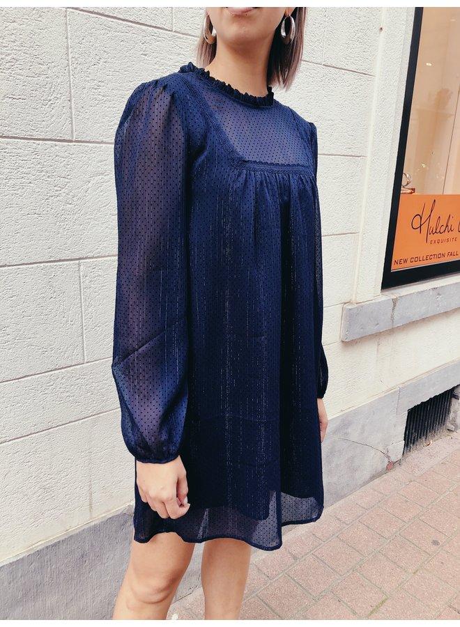 Dress - Short - Dots / Navy