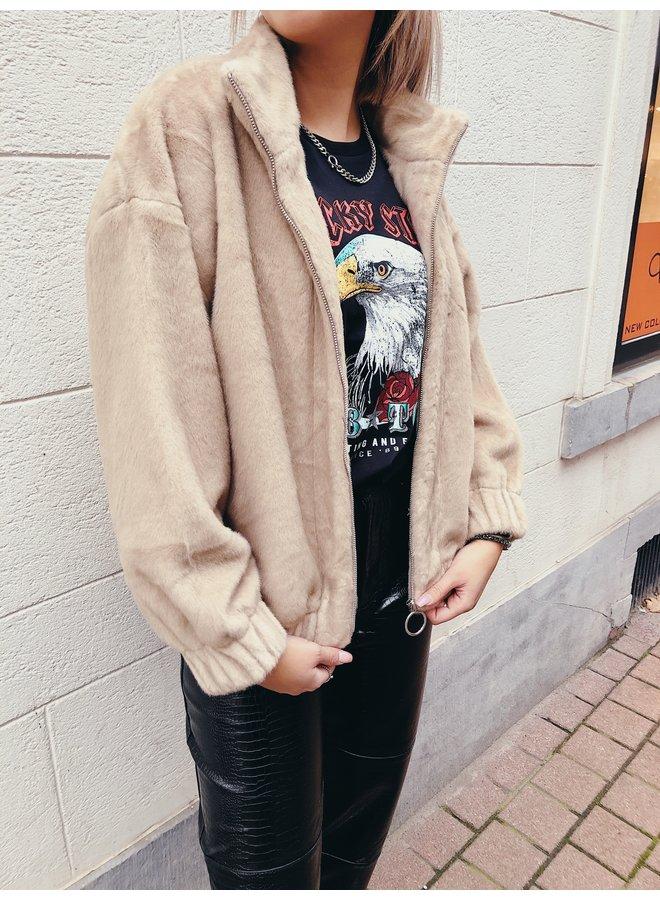 Jacket - Fluffy Zipper / Beige
