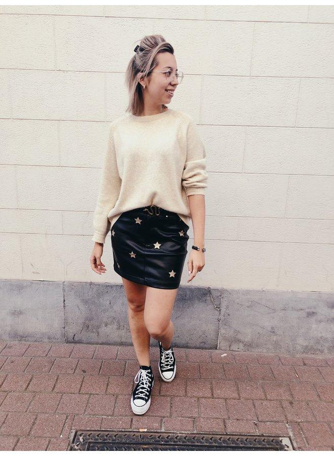 Skirt - Short - Giselle PU Star / Black - Gold