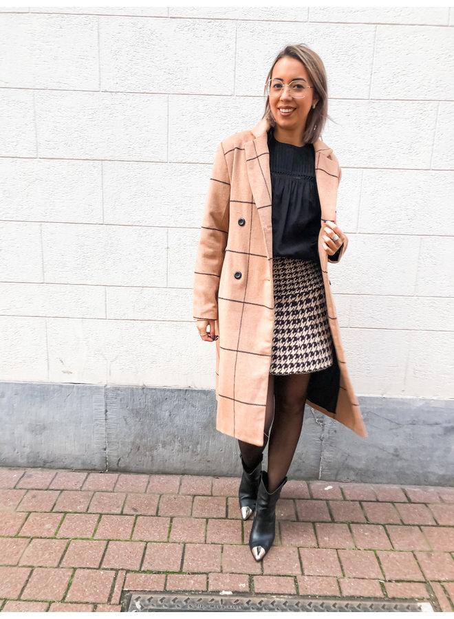 Skirt - Short - Highwaist - Print / Brown & White