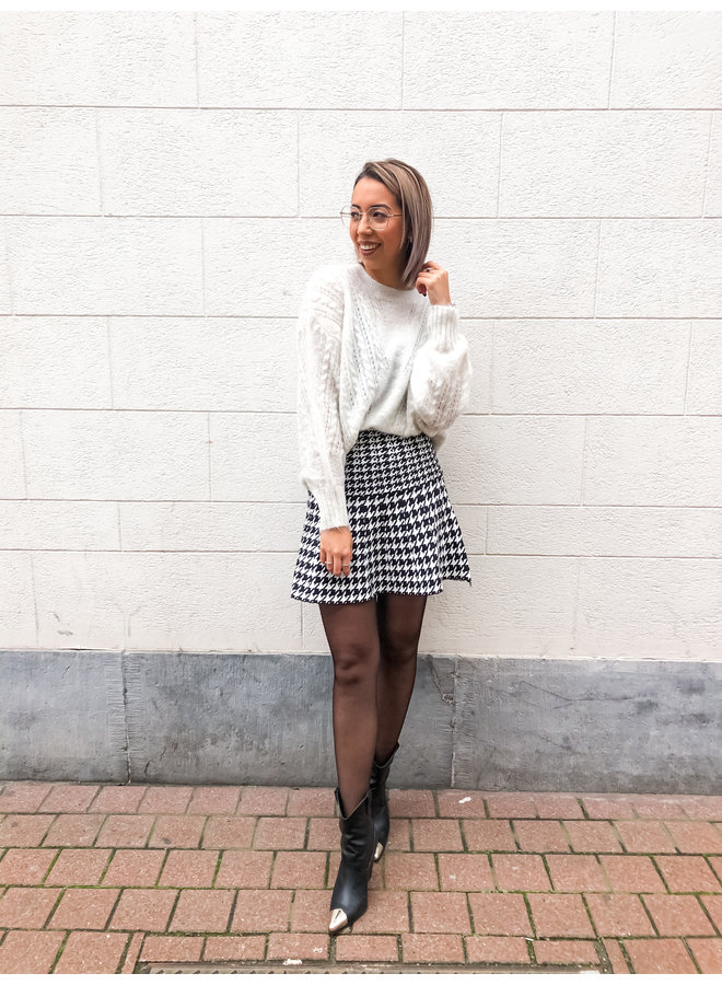 Skirt - Short - Highwaist - Print / Black & White