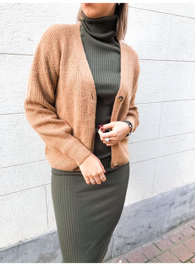 Cardigan - knitwear - button / Camel