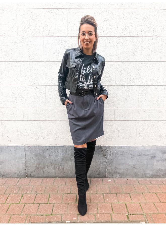 Skirt - Midi - High Waist / Grey