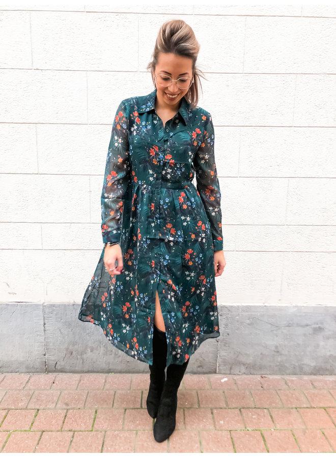 Dress Midi - Flower Dress with Belt / Green