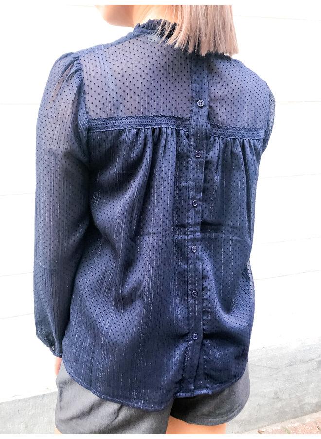 Blouse - Button back / Navy Blue