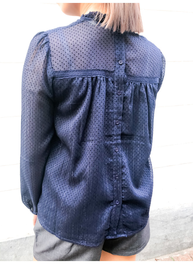 Blouse - Button back / Navy Blue