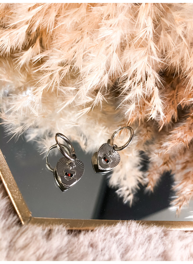 Earring - Charm - Heart / Multicolor - Silver
