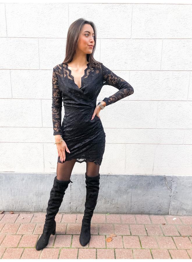 Dress - Short - Lace V neck / Black