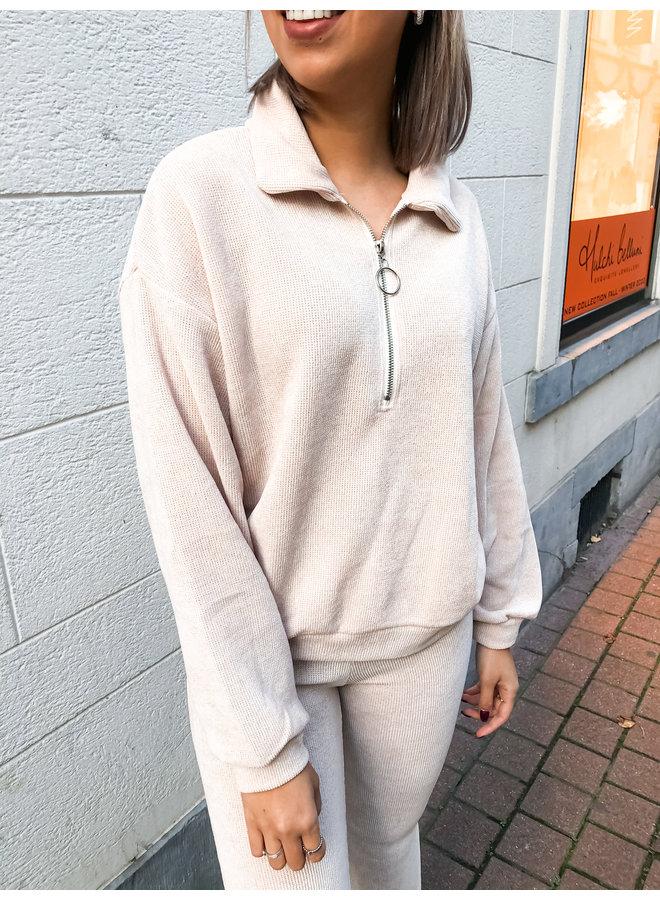Comfy set - Zipper Sweater - Flair Pants / Beige