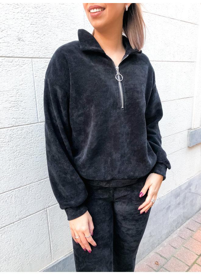 Comfy set - Zipper Sweater - Flair Pants / Black