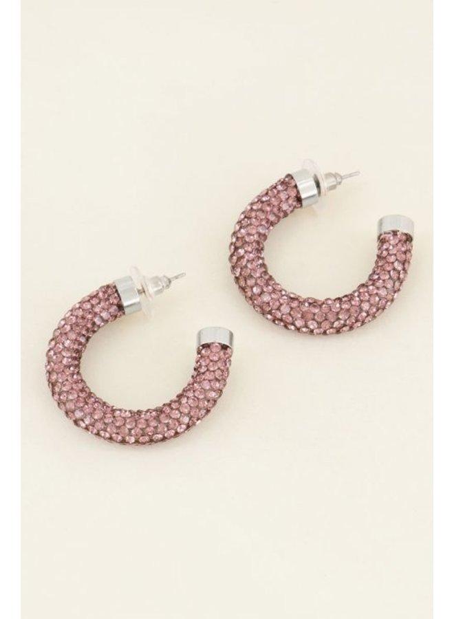 Oorbellen roze strass rond / zilver