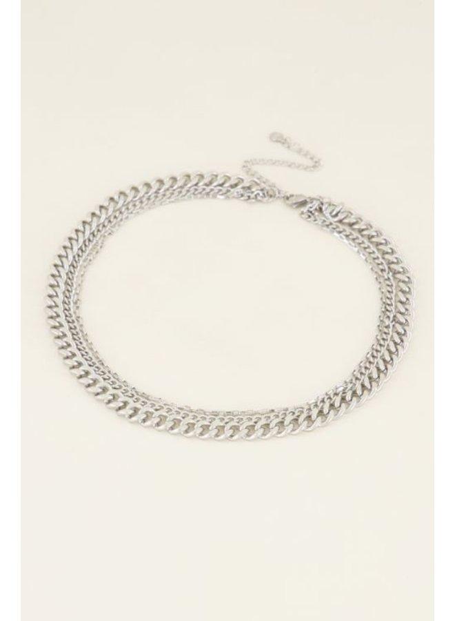 Driedubbele schakelketting / zilver