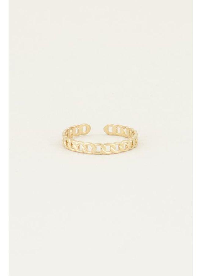 Ring Platte Schakels / Goud