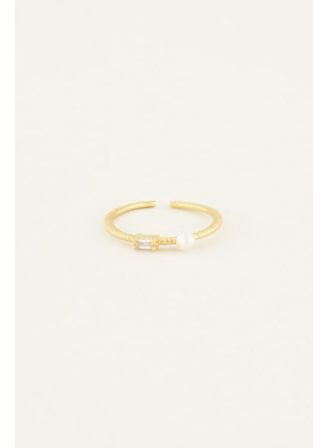Ring Strass  & Parel/ Goud