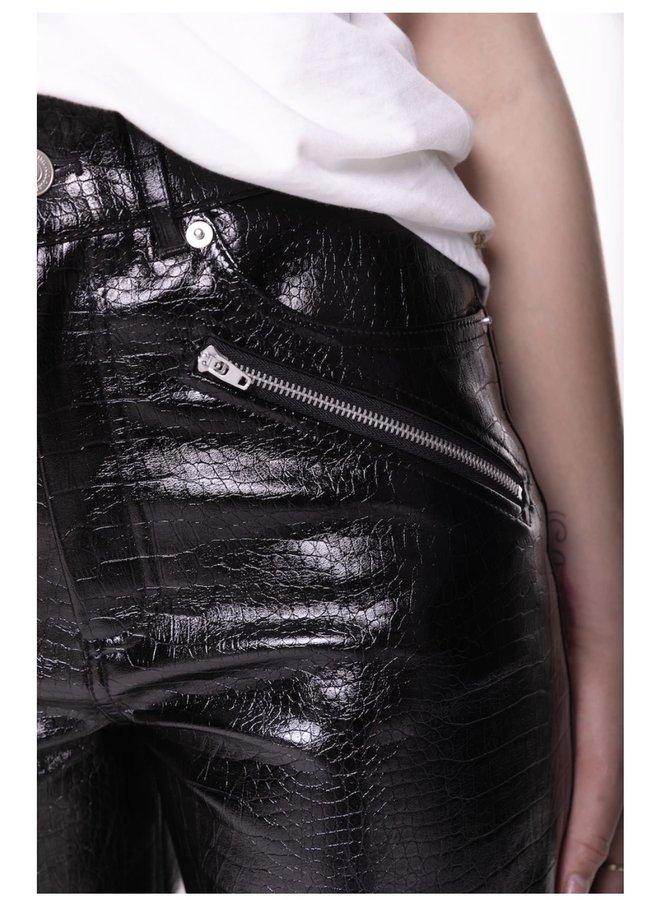 Pants - Aisly Croco - PU / Black