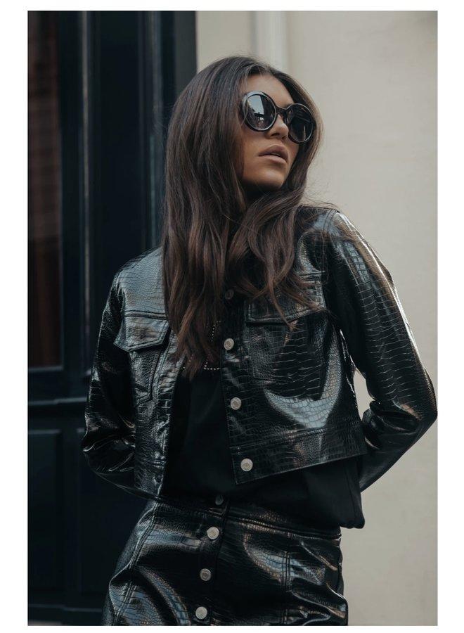 Jacket - Paris Croco Cropped / Black