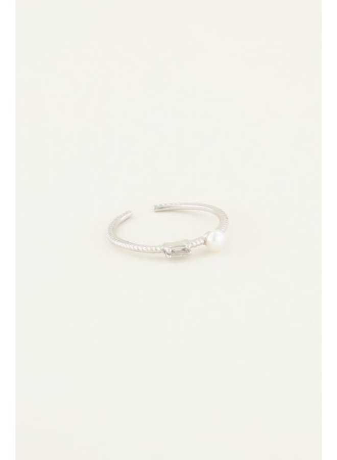 Ring Strass & Parel / Zilver
