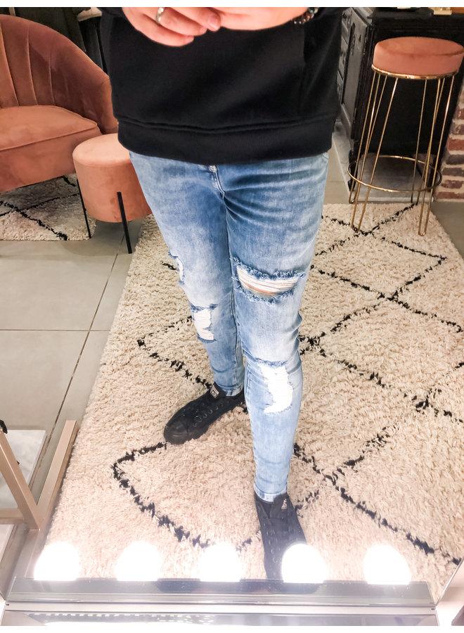Jeans - Distressed Skinny Jeans / Midwash Denim
