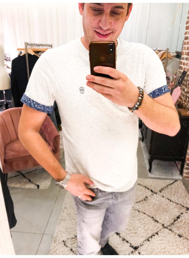 T-Shirt  - Furtos / Ecru - White Skull - Bandana
