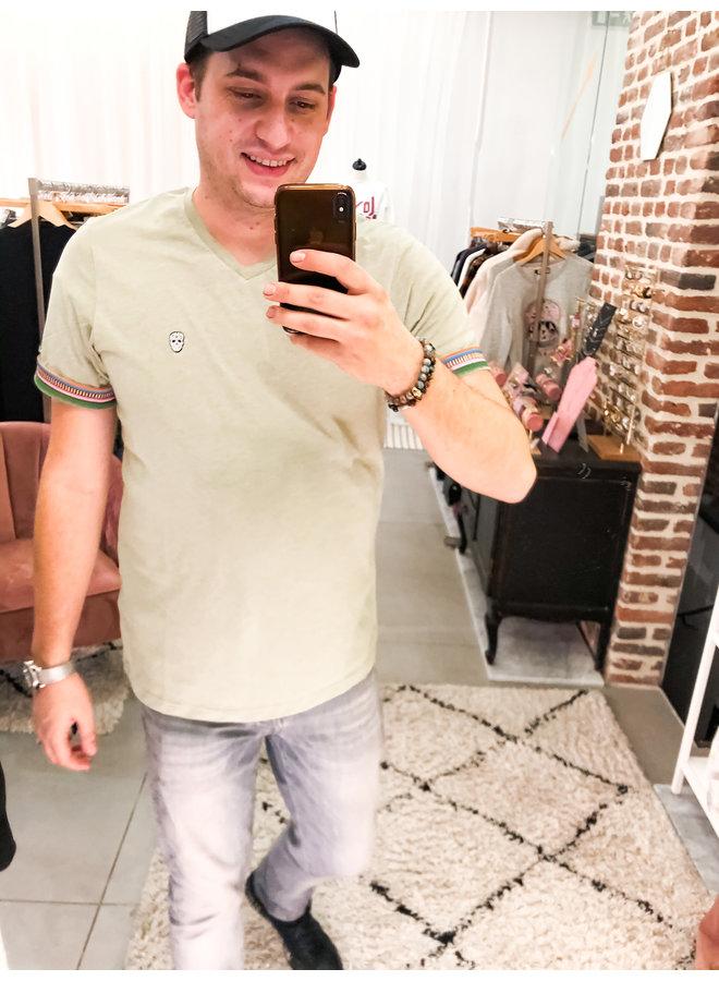 T-Shirt - Vurtanos / Khaki Melange - White Skul - Mexico