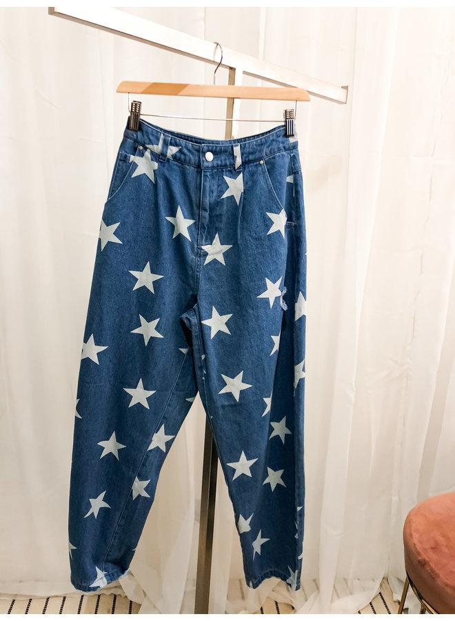 Broek - Julia Star - Momfit / Blue-White
