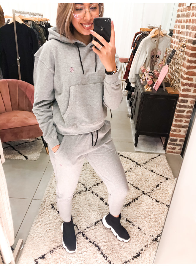 Joggingsbroek - Sportswear /Grey Melange - Pink Skull