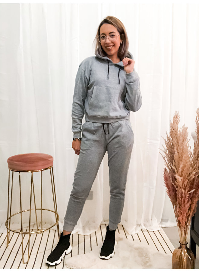 Hoodie - Sportswear / Grey Melange - Pink Skull