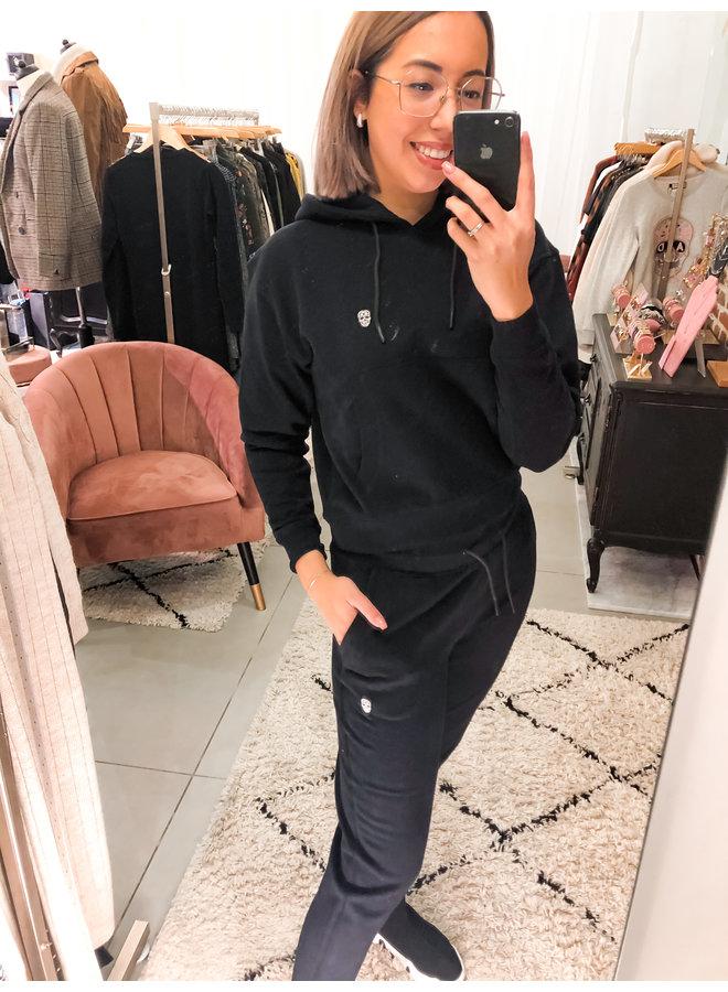 Hoodie - Sportswear / Black - Silver Skull