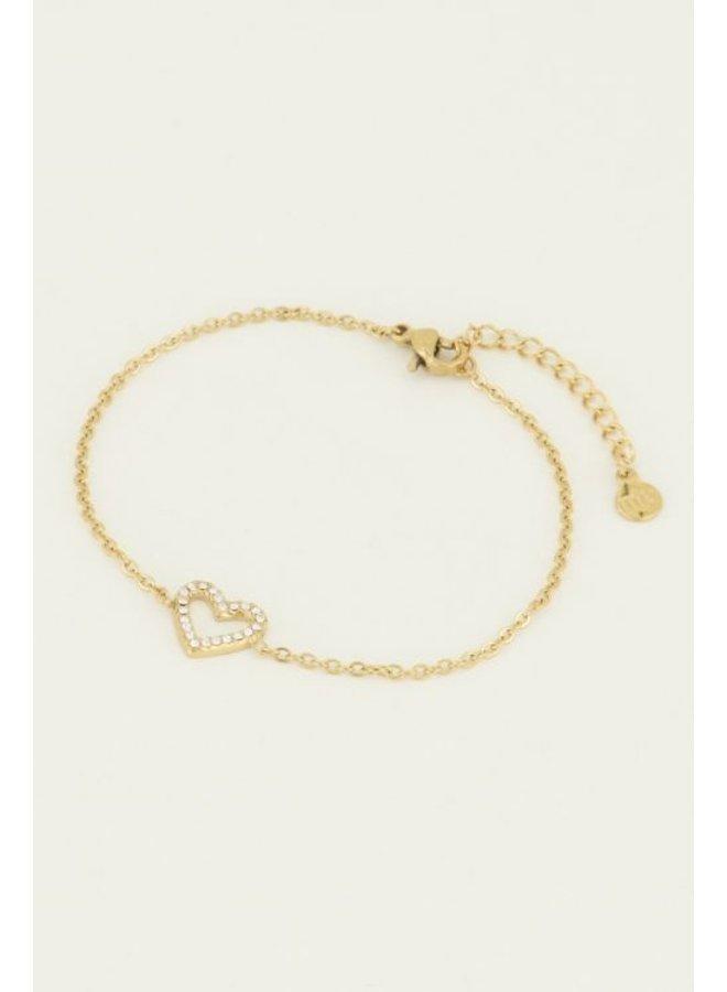 Armband open hart steentjes / goud