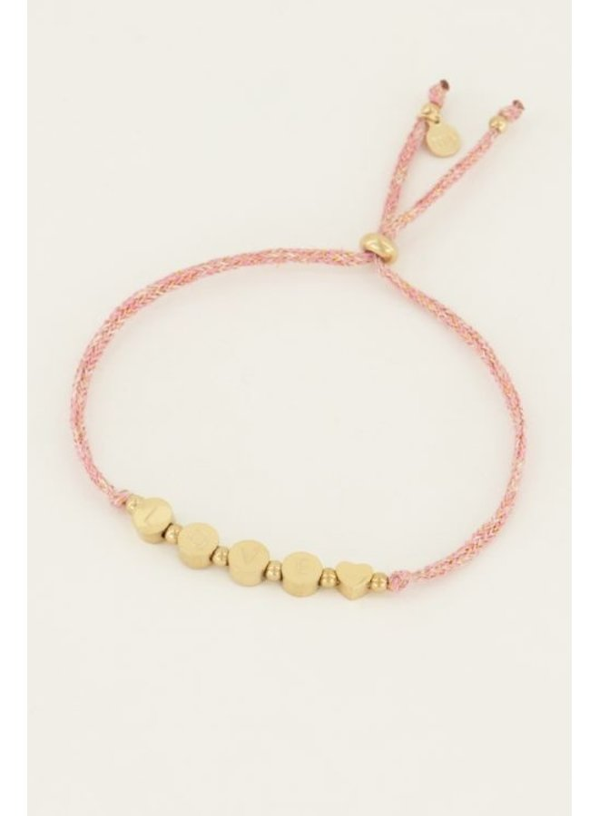 Touw armband love / goud