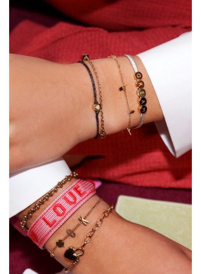 Touw armband hartje / goud