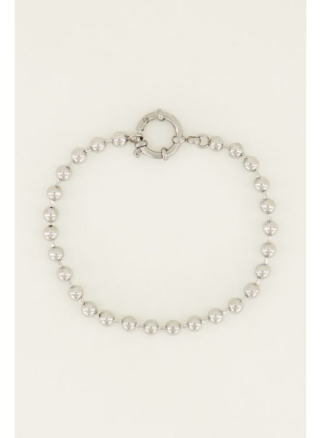 Armbandje bolletjes rond slot / zilver
