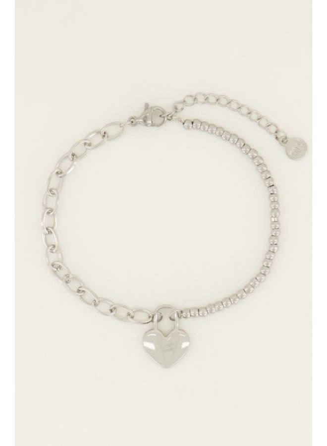 Armband  hartjes slot / zilver