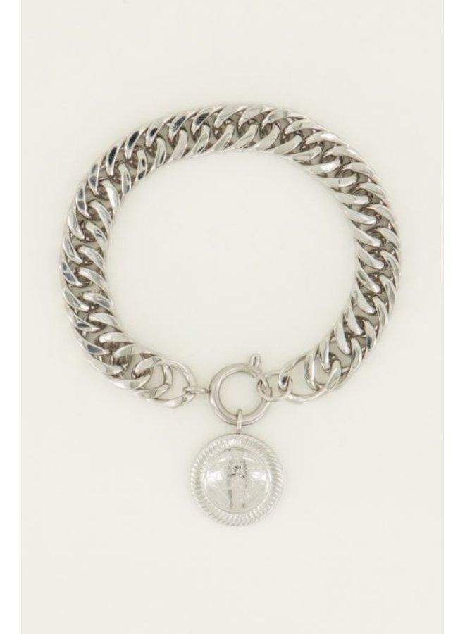 Schakelarmband munt / zilver